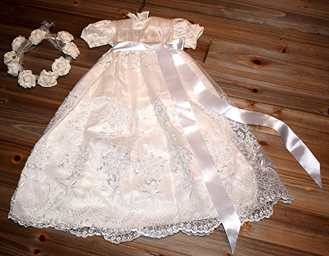 dd8ad33263156 Amazon.com  Silk Beaded Christening Gown 3 6 month  Handmade