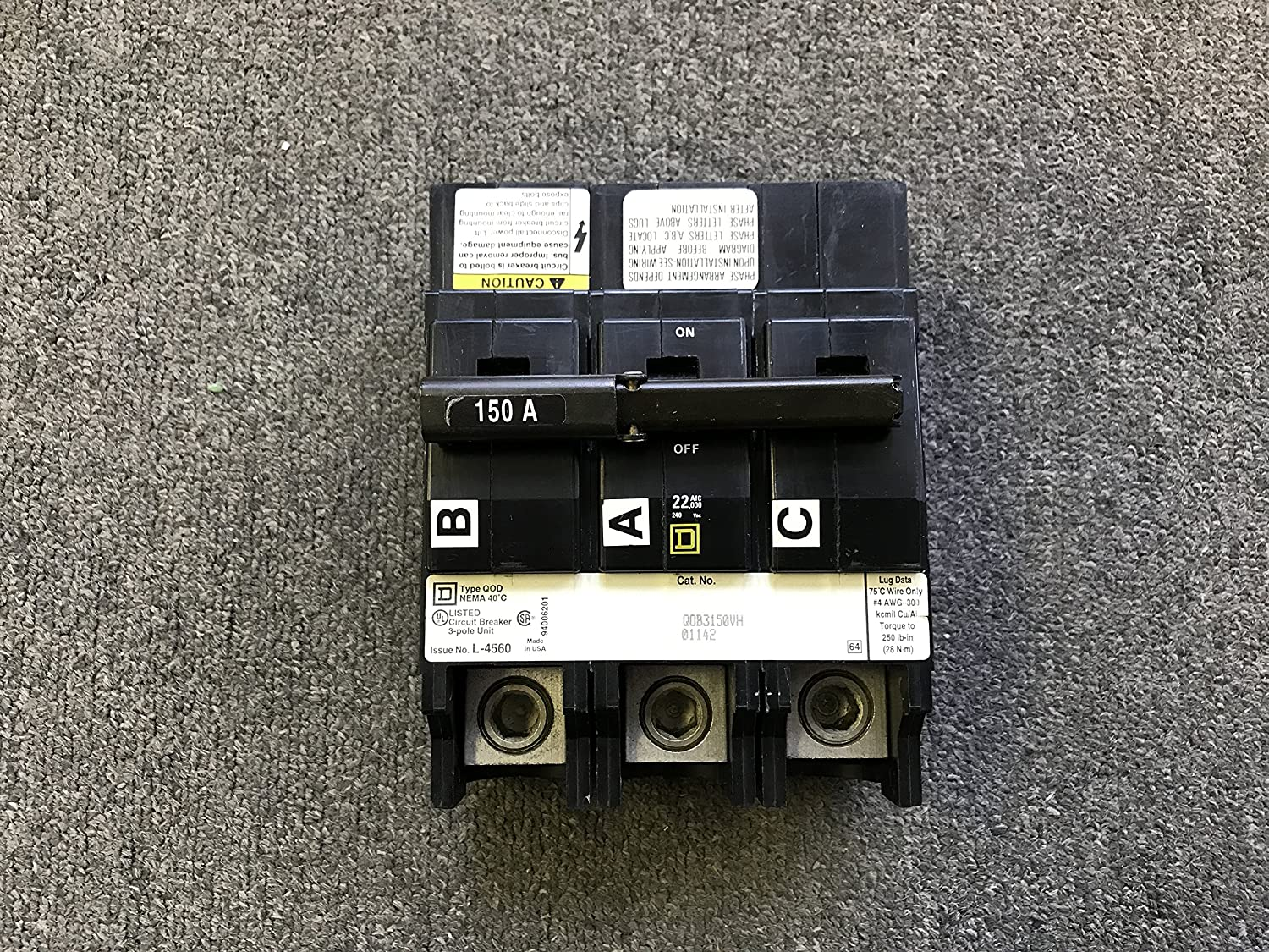 Square D By Schneider Electric Qob3150vh Miniature Circuit Breaker Breakers Load Centers Fuses 240v 150a Home Improvement