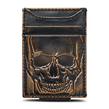 Amazon.com: HOJ Co. Skull cartera de bolsillo frontal ...