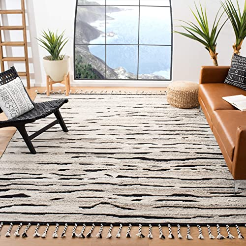 Safavieh Casablanca Shag Collection CSB400A Handmade Wool Moroccan Area Rug, 8 x 10 , Charcoal Ivory