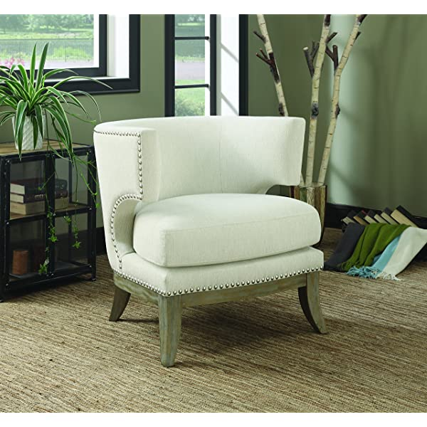 Coaster Home Furnishings Accent Chair with Barrel Back White and Weathered Grey