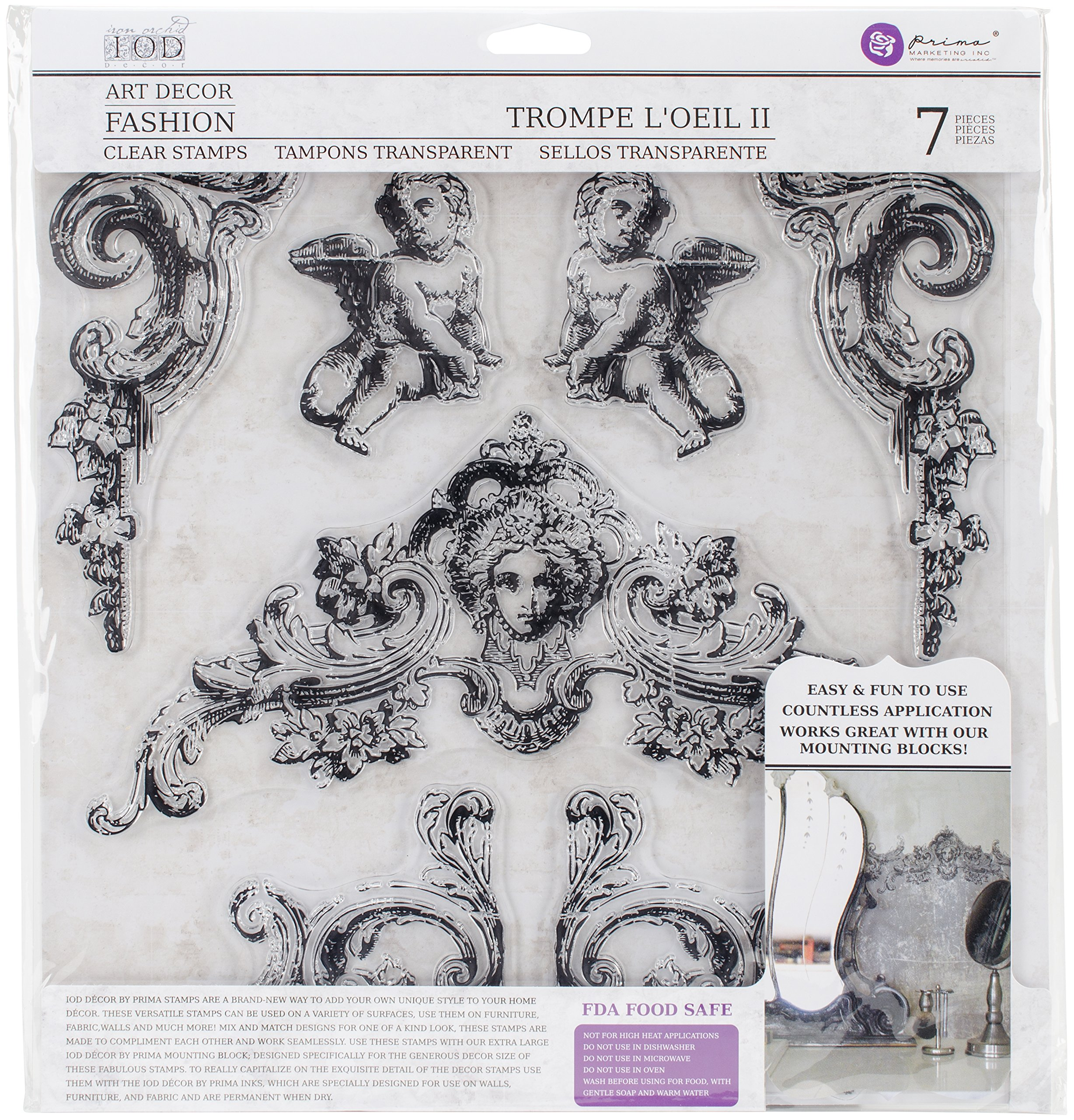 Prima Marketing Iron Orchid Designs Decor Clear Stamps -Trompel feet oeil 2 12'' x 12''