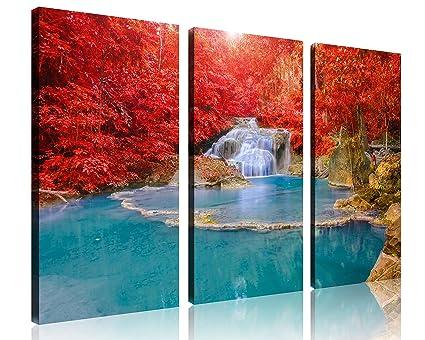 tutubeer 3 Panel Pacífica Cascada Bosque otoñal Wall Art Descenso ...