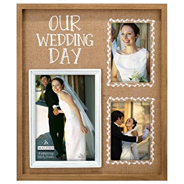 Malden International Designs Burlap Wall Sentiments Silkscreened  Our Wedding Day  Picture Frame, 3 Option, 2-4x6 & 1-5x7, Tan