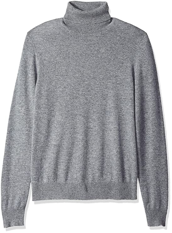 BUTTONED DOWN Men's 100% Premium Cashmere Turtleneck Sweater, Grey, X-Large