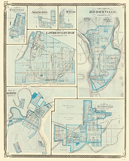 Amazon Com City Map Brookeville Rushville Aurora Lawrenceburgh