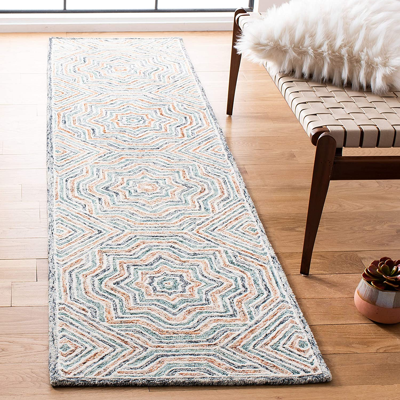 Amazon Com Safavieh Capri Collection Cpr215m Handmade Premium Wool Runner 2 3 X 9 Blue Rust Furniture Decor