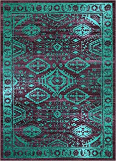 product image for Maples Rugs Georgina Traditional Area Rugs for Living Room & Bedroom [Made in USA], 5 x 7, Winberry/Teal