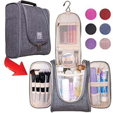 Boacay Premium Hanging Travel Toiletry Bag for Women and Men | Hygiene Bag | Bathroom and Shower Organizer Kit with Elastic Band Holders for Toiletries, Cosmetics, Makeup, Brushes