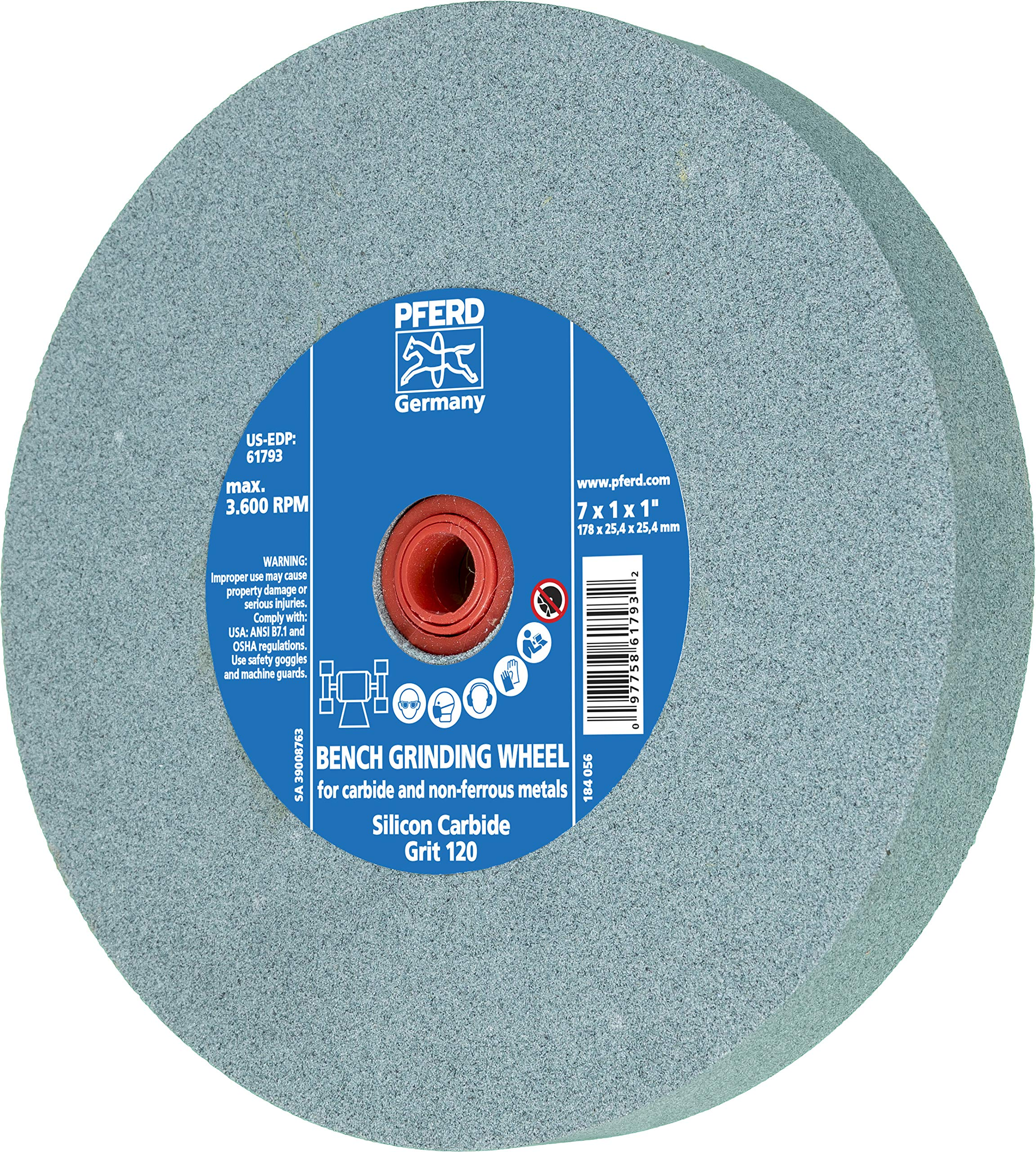 PFERD 61796 Bench Grinding Wheel, Silicon Carbide, 8'' Diameter, 1'' Thick, 1-1/4'' Arbor Hole, 120 Grit, 3600 Maximum RPM by Pferd