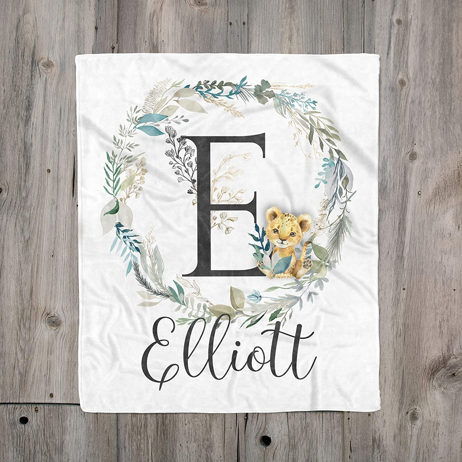 Great for baby or Toddler Gift New Personalised baby blanket with lion design