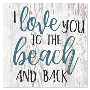 MRC Wood Products I Love You to The Beach and Back Wooden Wall Sign 12x12 (White)