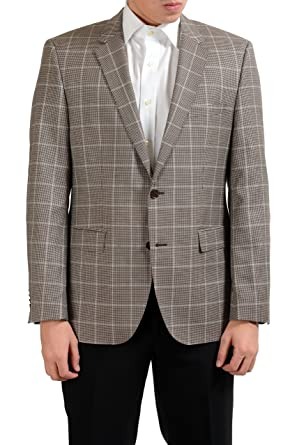 """85a9ab6c Image Unavailable. Image not available for. Color: Hugo Boss The  Smith12"""" Men's Plaid 100% Wool ..."""