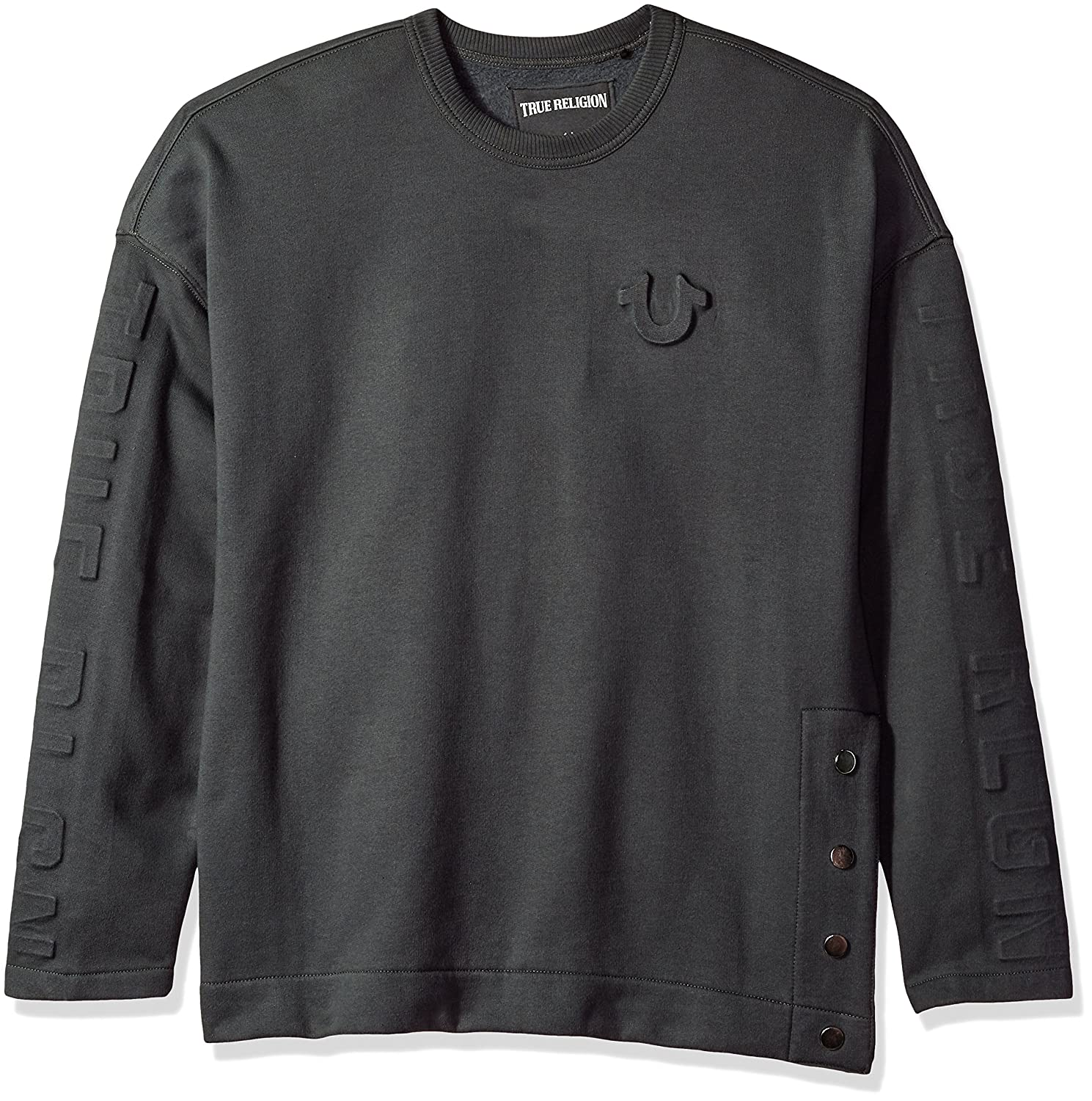 ec524cc60 Amazon.com  True Religion Men s Oversized Embossed Fleece Sweatshirt   Clothing