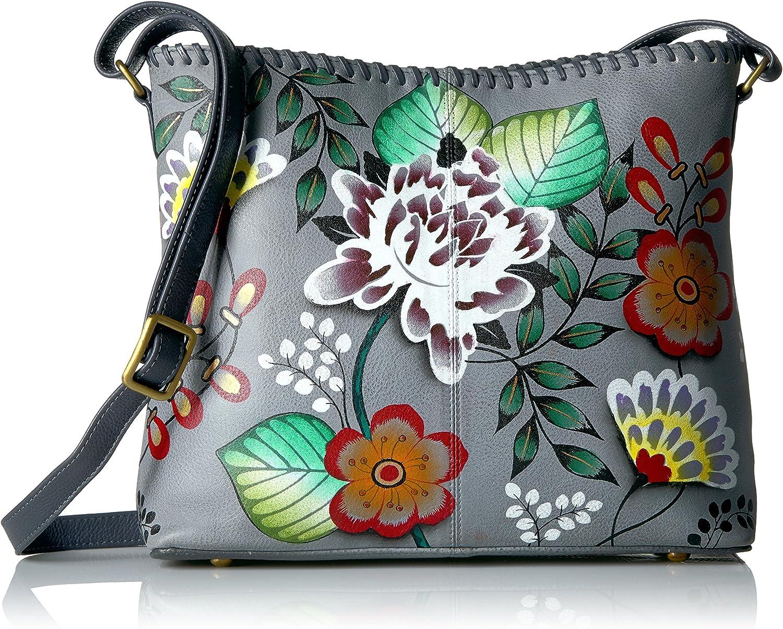 Anna by Anuschka Women's Genuine Leather Shoulder Bag   Hand Painted Original Artwork   Small Zip-Top Organizer