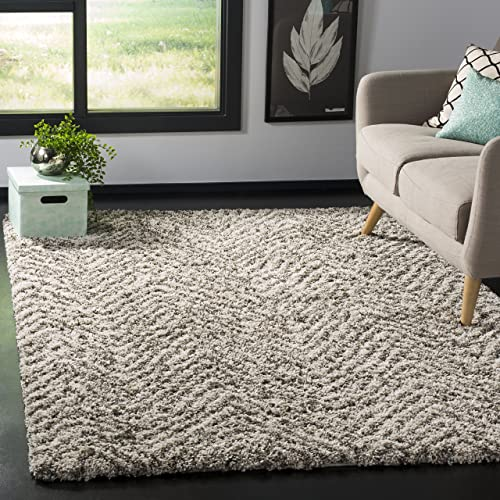 Safavieh Hudson Shag Collection SGH375A Chevron 2-inch Thick Area Rug
