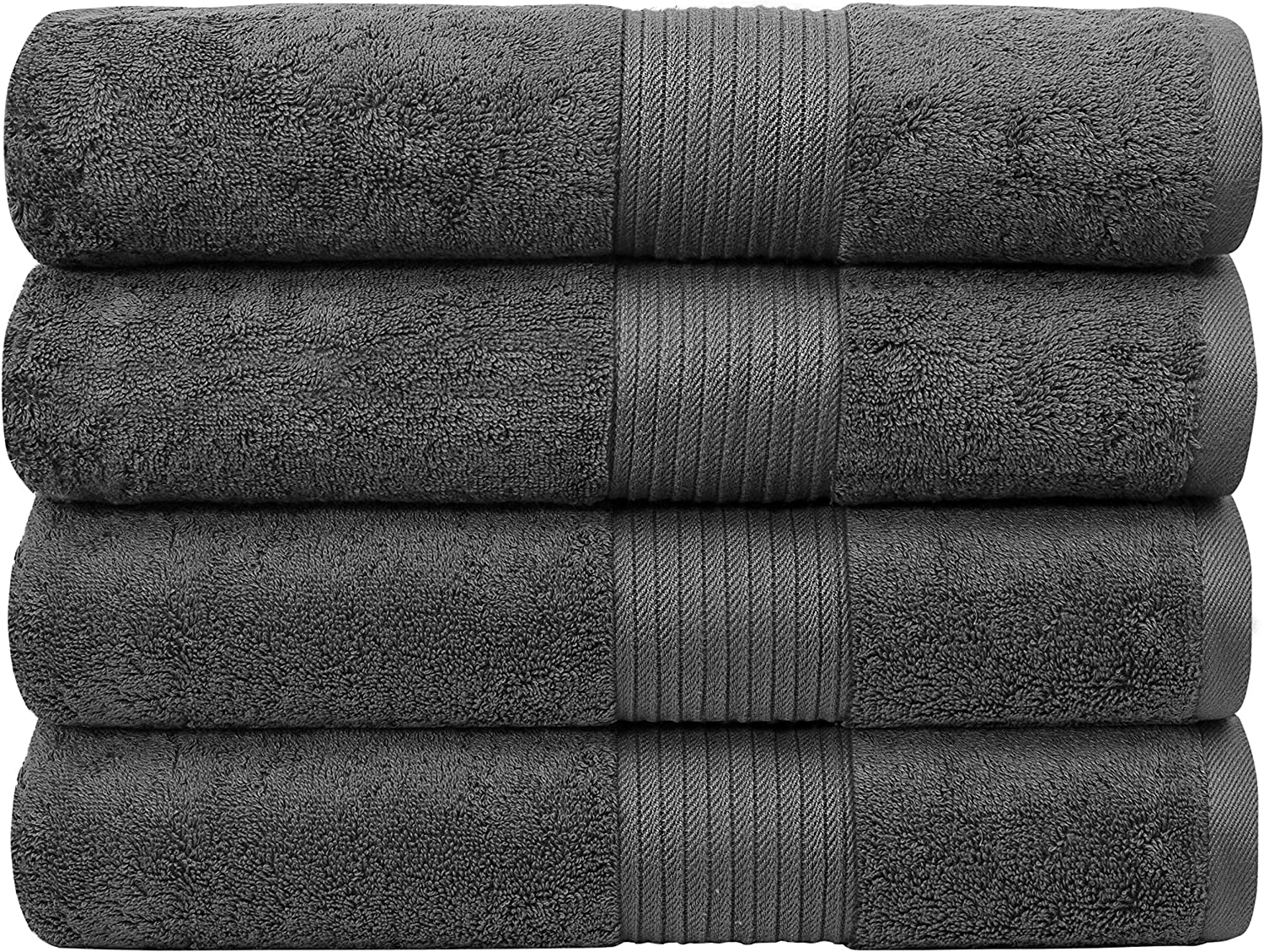 """Bliss Luxury Bath Towels Set - 34"""" x 56"""" Extra Large Premium Quality Bath Sheet - 650 GSM - Soft Combed Cotton, Absorbent (Dark Grey, 4 Pack): Home & Kitchen"""