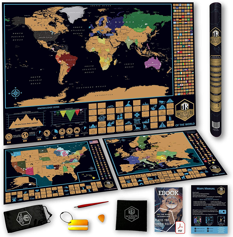 Juego de mapa para rascar TR – Mapas del mundo, Estados Unidos y Europa con etiqueta de libro electrónico y equipaje | Pósters grandes de calidad premium – perfecto como regalo para