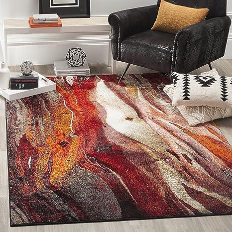 Amazon Com Safavieh Glacier Collection Gla126a Modern Abstract Area Rug 9 X 12 Red Multi Furniture Decor