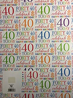 40 Forty 40th Today Celebrate Birthday Gift Wrapping Paper 2 Sheets 1 Tag