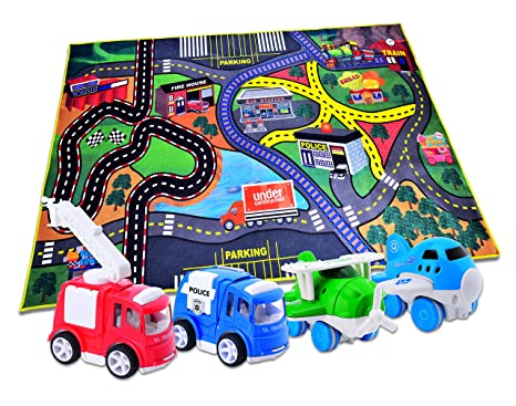 carlorbo 4 play vehicles with large playmat set die cast pull back and friction - Best Christmas Toys