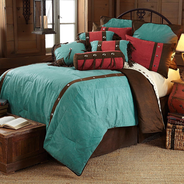HiEnd Accents Turquoise Cheyenne Western Comforter Set, Super Queen