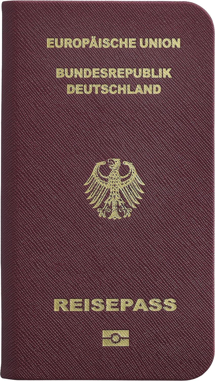 Ozaki Worldpass - Funda rígida tipo libro (plástico), diseño de pasaporte de Alemania, color marrón: Amazon.es: Electrónica