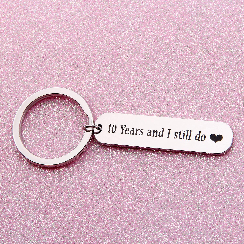 Amazon.com: CHOROY 10th Anniversary Keychain Wedding Gift 10 Years I ...