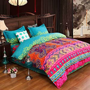 Luxury 4-Piece Bohemian Exotic Style Bedding Duvet Covers Set Queen Size Pattern1
