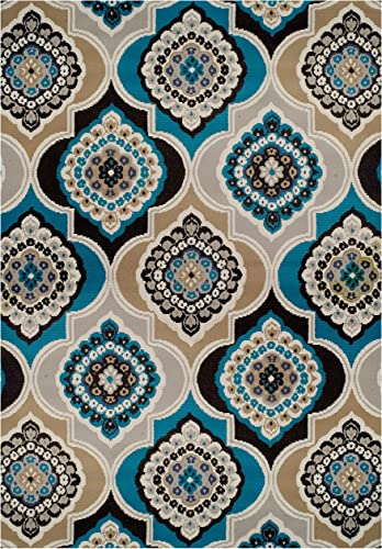 Century Home Goods Collection Panal and Diamonds Area Rug Blues 8×10 Contemporary Rugs Blue 8×11 Area Rug 8×10 Under 100