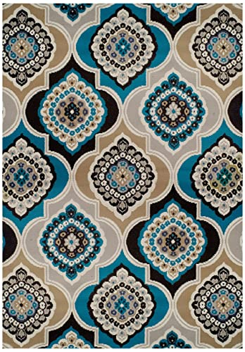 Century Home Goods Collection Panal and Diamonds Area Rug Blues 8×10 Contemporary Rugs Blue 8×11 Area Rug 8×10 Clearance Under 100