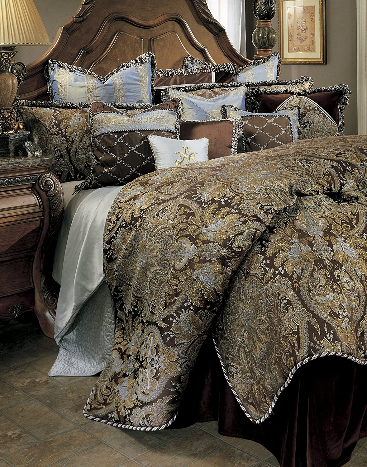 amazoncom michael amini portofino  piece comforter king brown home kitchen. amazoncom michael amini portofino  piece comforter king