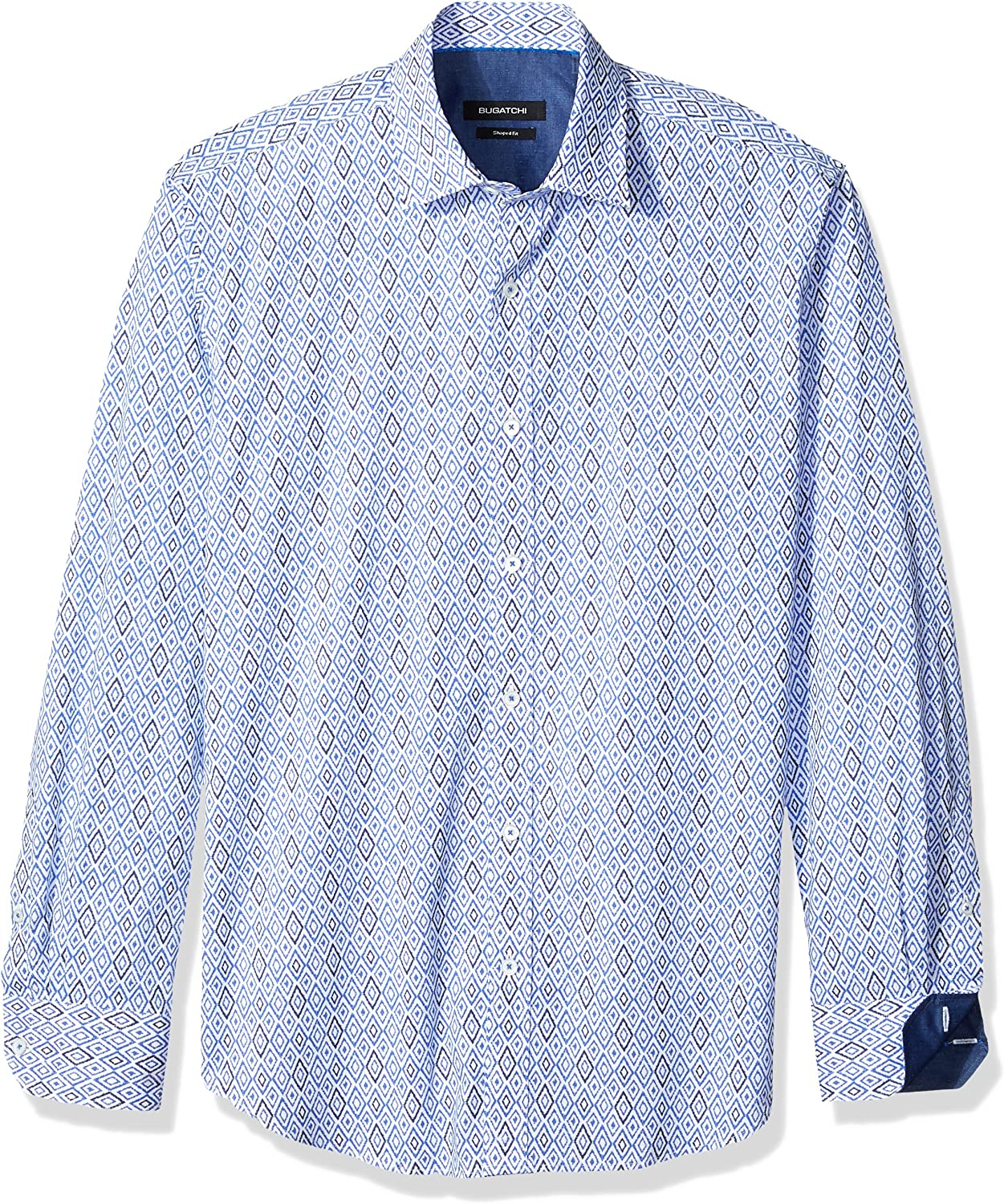 Bugatchi Mens Fitted Short Sleeve Royal Printed Point Collar Shirt