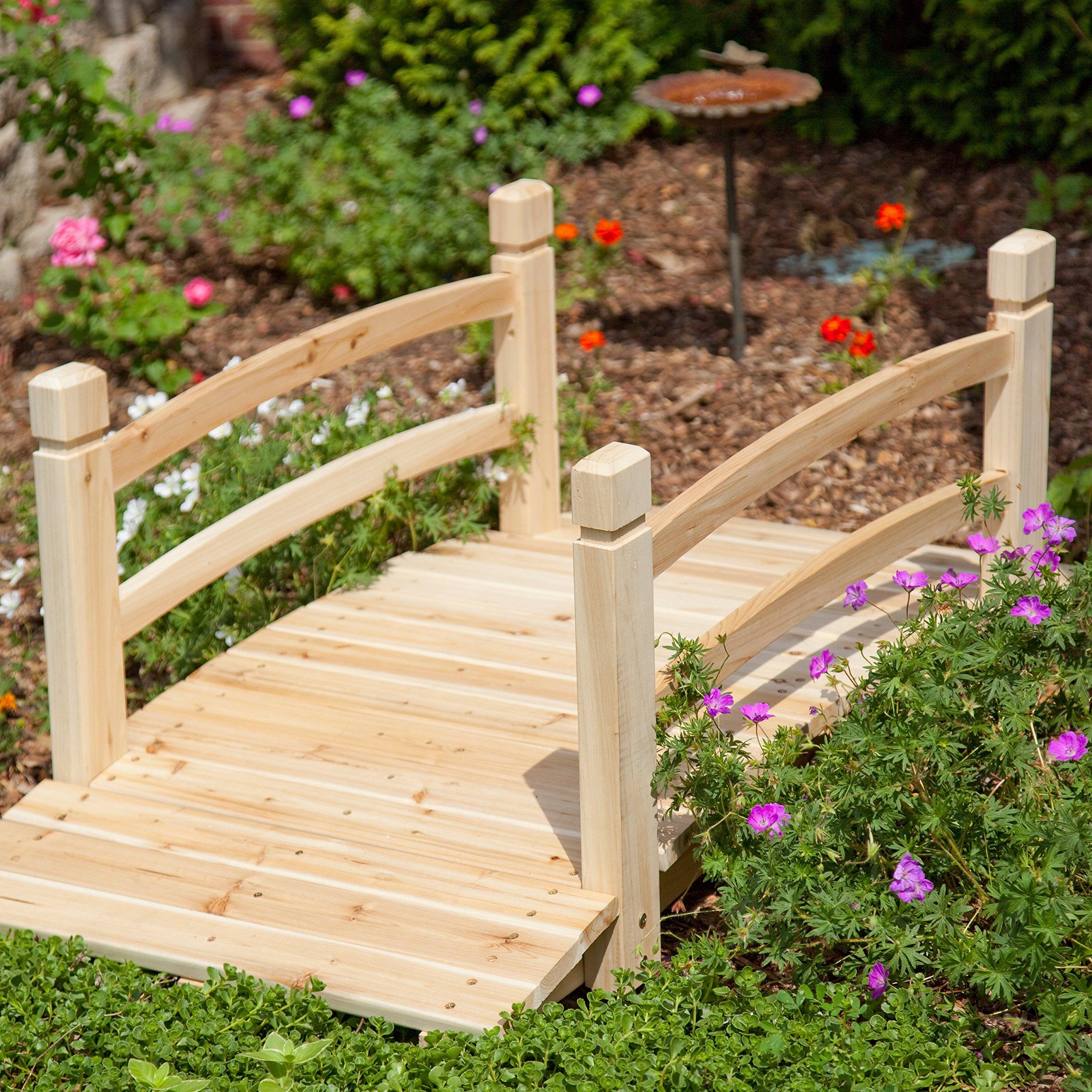 Natural Wood Finish 48'' Garden Bridge Outdoor Yard Lawn Landscaping Decor