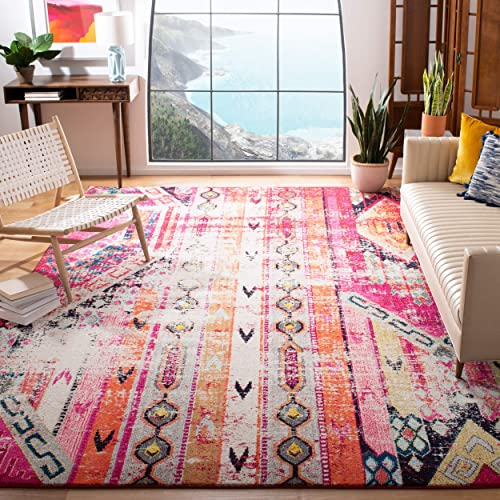 Safavieh Monaco Collection MNC222D Modern Bohemian Distressed Area Rug, 8 x 10 , Magenta Multi