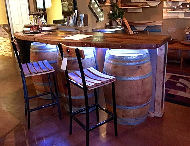 Amazon Com Wine Barrel Bar With Hardwood Bar Top Handmade
