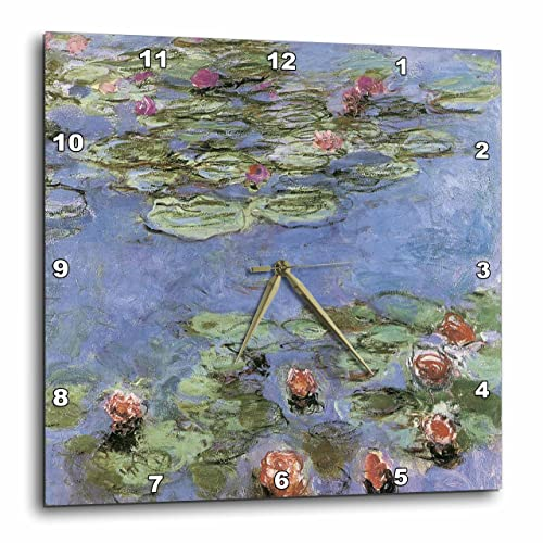 3dRose DPP_164644_2 Water Lilies Vintage Monet Wall Clock, 13 by 13-Inch
