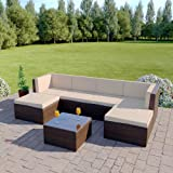 Abreo Rattan Modular Corner Sofa Set Garden Conservatory Furniture 5 To 9 Pcs (Acapulco, Brown)