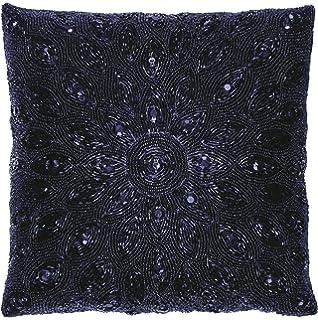 1c469834b6c7 Amazon.com  Linen Clubs Floral border Hand Beaded Decorative Pillow ...