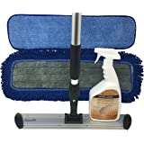 """Mannington Ultra Clean Floor Mop Cleaning Kit - Complete Hardwood & Laminate Flooring Cleaning System - 18"""" Pristeen Flat Mop with 72"""" Telescopic Mop Handle - 32oz Ultra Clean Spray Bottle"""