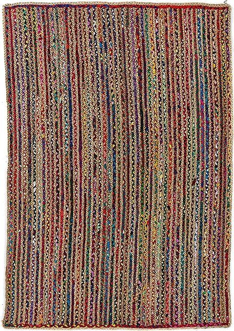 Alfombra de Yute rectangular Multicolor Mexi, alfombra natural de fibra de yute y algodón tejida a mano con fundamentos de comercio justo - Alfombra de salón, dormitorio, pasillos, exterior (150, 90): Amazon.es: Hogar
