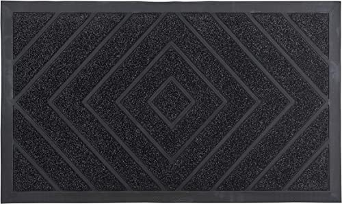 Superio Non-Slip Welcome Doormat for Entry 18X30 Indoor Outdoor, Heavy Duty, Waterproof, Easy Clean, Low-Profile Mats for Entry, Garage, Patio, High Traffic Areas, Black Diamond Coir