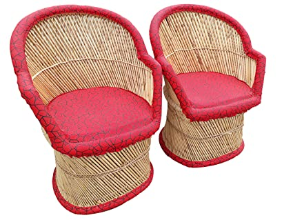 PatioStack Bamboo Leather Handicraft Outdoor Rattan & Wicker Sitting Chairs Furniture Set for Garden / Terrace / Lawn / Balcony / Restaurant / Cafe / Living Room / Drawing Room [ 2 Chairs, Size :18*18*34 ]