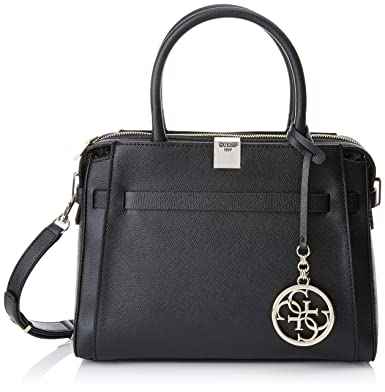 Guess Women s Christy Top Zip Black Girlfriend Satchel Handbag ... daf2d6b14e38d