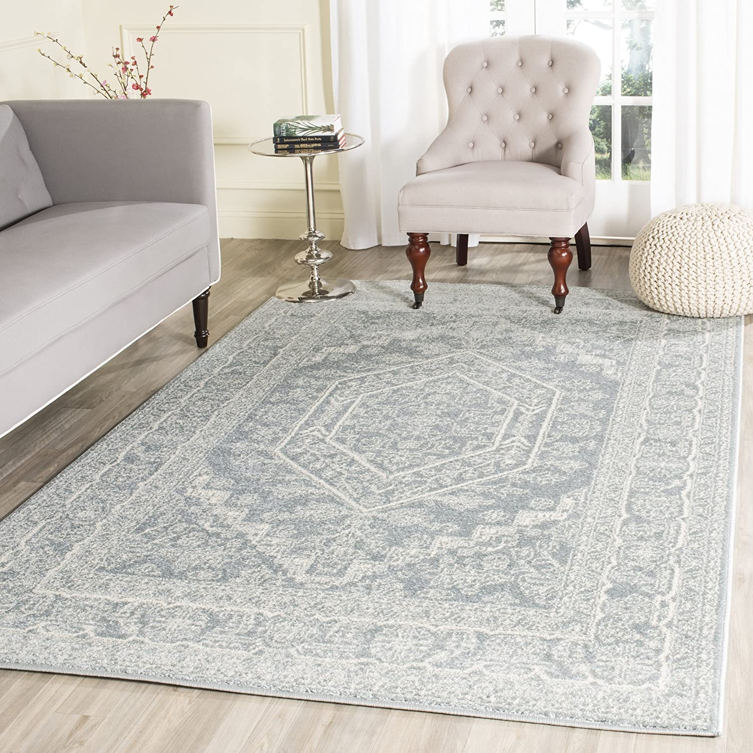 Amazon com safavieh adirondack collection adr108t slate and ivory oriental vintage medallion area rug 8 x 10 kitchen dining
