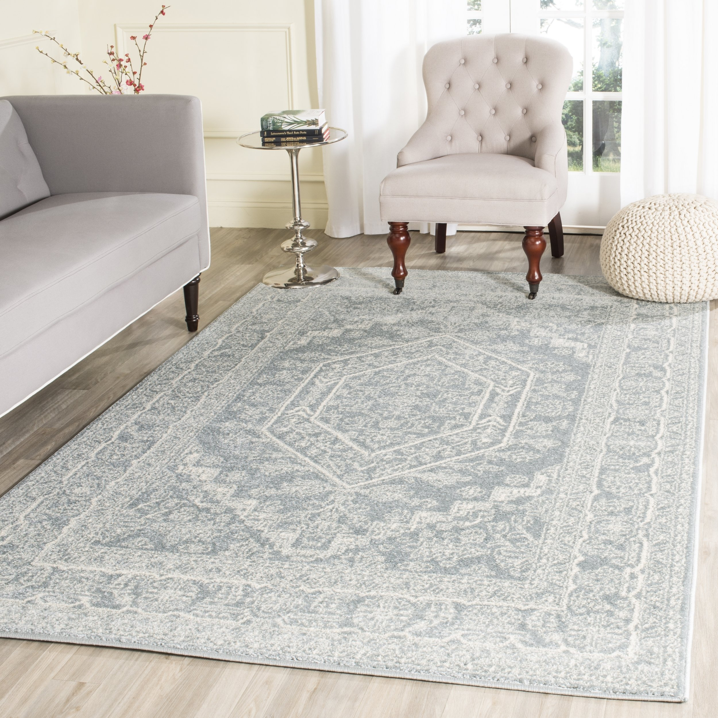 Safavieh Adirondack Collection ADR108T Slate and Ivory Oriental Vintage Medallion Area Rug (8' x 10') by Safavieh