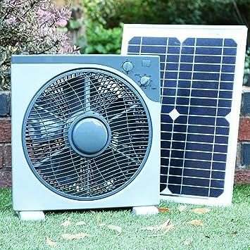 PK Green Ventilador Solar 12V DC Portátil con Panel Solar 20W Monocristalino para Camping, Caravana
