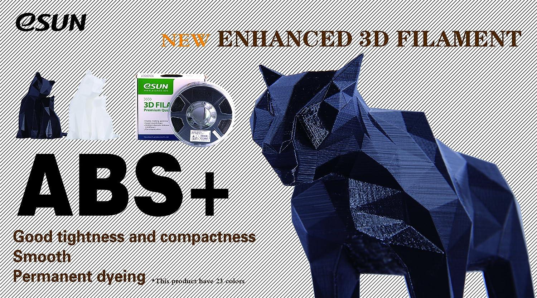 eSUN ABS Plus Filament 1.75mm 2.2 LBS Spool 3D Printing Consumables for Most FDM 3D Printers,Black 1KG Dimensional Accuracy +//- 0.05mm ABS Pro ABS+ 3D Printer Filament