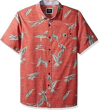 Rip Curl Hombre Manga Corta Camisa de Botones - Rojo - X-Large: Amazon.es: Ropa y accesorios