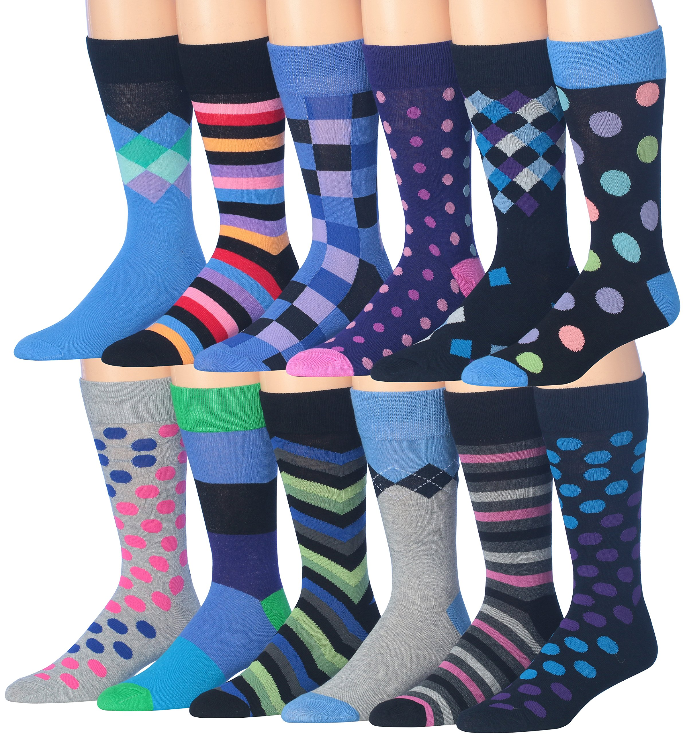 Colorfut Men's 12 Pairs Soft Cotton Colorful Funky Gift Box Dress Socks, Fits shoe 6-12 (sock size 10-13), CMC02